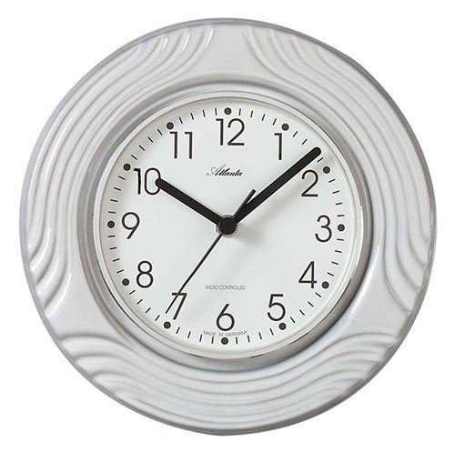 Atlanta Funk Küchenuhr Edel-Keramik Weiß-Grau - 6021