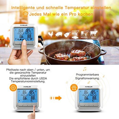 5164IJs1xYL - Fleischthermometer TOPELEK Bratenthermometer Grillthermometer 2 Sonden Haushaltsthermometer Temperatur Voreinstellung, Countdown Timer, Instant Read-Out, Magnetische Montagedesign für Küche, Grill