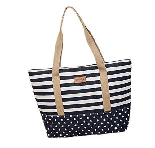 GGTFA Donne di Piacere Striscia Stelle Shopper in Canvas Handbag con Tracolla Girs Studente Grande Sacchetto di Scuola Nero