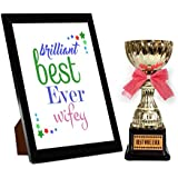 TiedRibbons® Karva Chauth Special Photo Frame With Golden Trophy   Karwachauth Special Gifts For Wife   Karwachauth Special Gifts For Wife   Karwachauth Special Gifts For Women