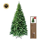RS Trade® 210 cm ca. 1160 Spitzen hochwertiger künstlicher Weihnachtsbaum mit Metallständer, Minutenschneller Aufbau mit Klappsystem, schwer entflammbar, HXT 1101