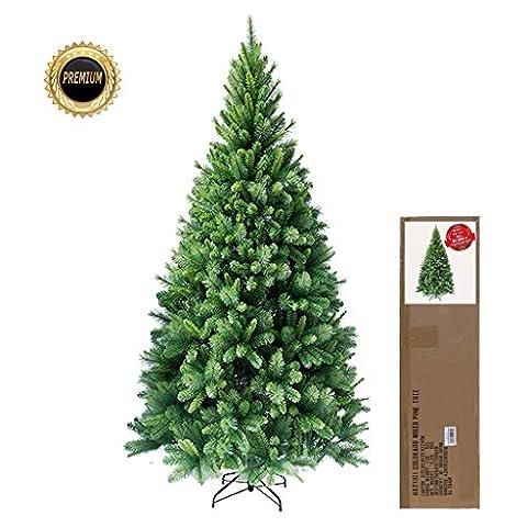 RS Trade® 180 cm ca. 824 Spitzen hochwertiger künstlicher Weihnachtsbaum mit Metallständer, Minutenschneller Aufbau mit Klappsystem, schwer entflammbar, HXT