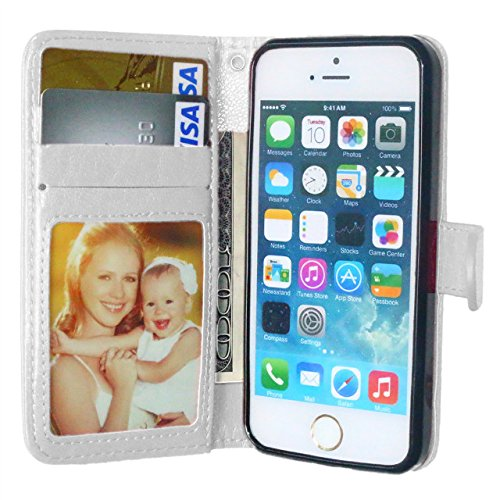 iPhone Case Cover Normallack-horizontale Wölbungs-erstklassiger PU-lederner Schlag-Standplatz-Fall mit 3 Karten Bargeldschlitz und Foto-Feld für IPhone 7 ( Color : Red , Size : IPhone 7 ) White