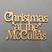 """Personalised Christmas at the""""Surnames"""" sign. xmas Decoration, mdf Plaque."""