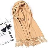 Feicat puro cashmere sciarpa autunno e inverno caldo tinta unita colore solido sciarpa pura lana spessa pelliccia d' agnello scialle Yellow Camel