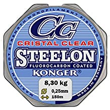 Lenza Konger Cristal Clear fluoro Carbon Coated 0,12 – 0,50 mm/150 m monofilamento Super Forte. (0,05 €/m)
