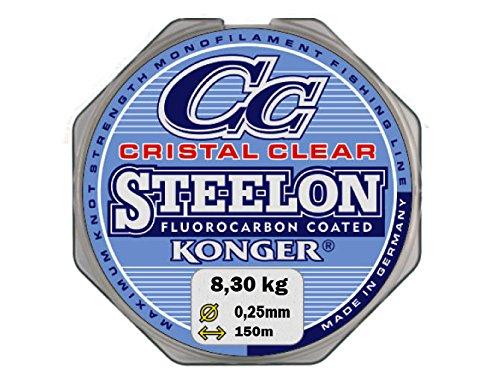 Konger Angelschnur Cristal Clear Fluorocarbon Coated 0,12-0,50mm/150m Monofile Super stark ! (0,05€/m) (0,25mm / 8,30kg)
