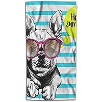 Toalla de Playa para Perro con diseño de Bulldog francés con Gafas de Sol, Toalla