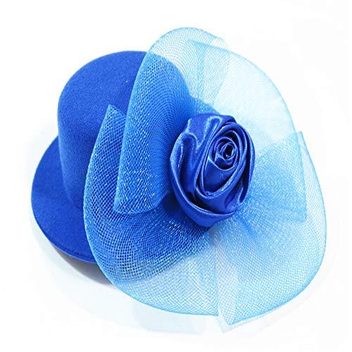 Zylinder Cocktail Hut für Frauen, Cocktail Party Hut mit Punkt Schleier Bowknot Haarspange Charming Große Blume Stirnband Mesh Haarband Party Mädchen Frauen (2 stücke),Blue