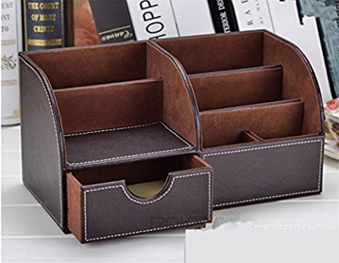 KKLL PU cuir Télécommande Boîte de rangement Box Creative Desktop
