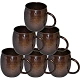 Prisha India Pure Antique Copper Hammered Moscow Mule Mug Set Of 6