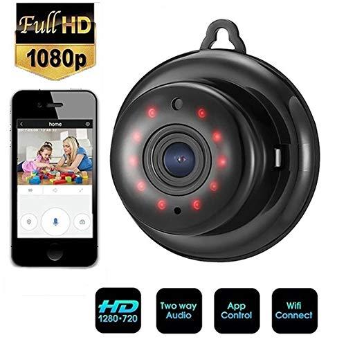 Mini Kamera,1080P Überwachungskamera Aussen/Innen Mikro Nanny Cam mit Bewegungsmelder Aussen und Infrarot Nachtsicht,Unterstützt Speicherkarte Micro SD 64 GB (Nicht Enthalten) (1080P) Wifi Spy