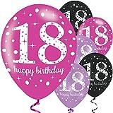 Feste Feiern Geburtstagsdeko Zum 18 Geburtstag | 6 Teile Luftballons Pink Schwarz Violett Party Set Happy Birthday (6 Teile)