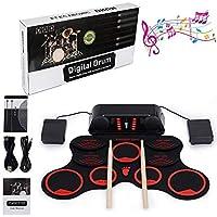 Electronic Drum Kit, LUXACURY 10 Pads Kit de almohadillas eléctricas Roll Up Kit de batería eléctrica Built in Doble altavoz estéreo, Función de grabación, Crash Cymbal, TOM