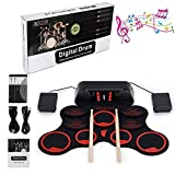 E-Drum Kit, LUXACURY 10 Pads Electric Drums Kit Elektrische Roll up Drum Pad Kit Electric Drums Set, tragbare Praxis Elektronische Drumset Erbaut im Doppel Stereo Lautsprecher,Aufnahme Funktion