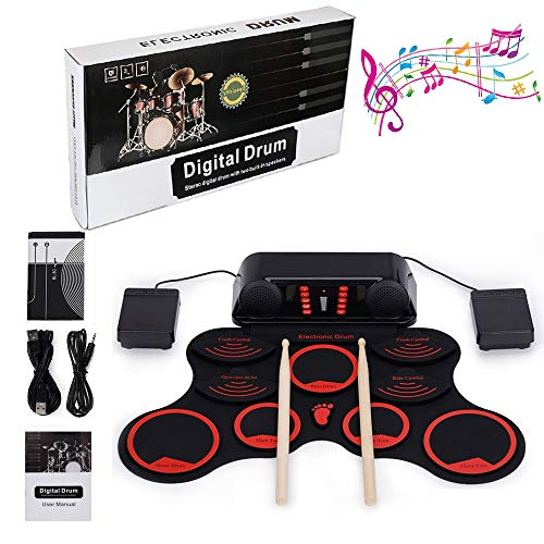 Electronic Drum Kit, LUXACURY 10 Pads Kit de almohadillas eléctricas Roll Up...