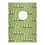 4 Mignonnes cahiers retro avec des petits lapins faisant de la musique , vert, A5 (21x14,8), cahiers pour écrire, linéatur 4 (cahier ligné, sans bord)