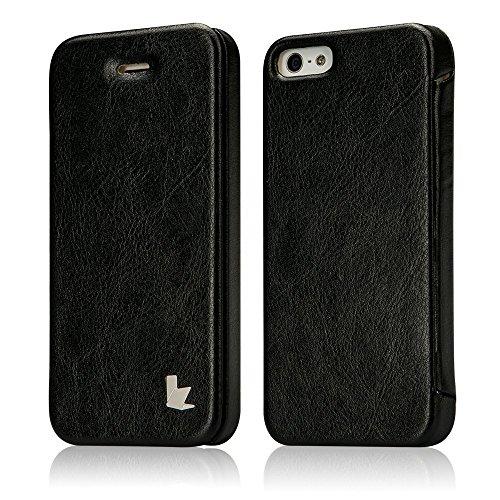Jisoncase ELEGANT Hülle für iPhone 5 / iPhone SE / iPhone 5S Handytasche Schwarz Flip Case Cover für Apple Phone mit integriertem Magnetverschluss Tasche JS-ISE-01M10 (Buch Handy Cover Iphone 5)