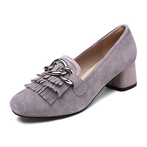 HWF Scarpe donna Single Shoes Female Summer Tassel Shallow Mouth Scarpe da donna Casual A Pedal Scarpe col tacco alto ( Colore : Nero , dimensioni : 39 ) Viola Chiaro