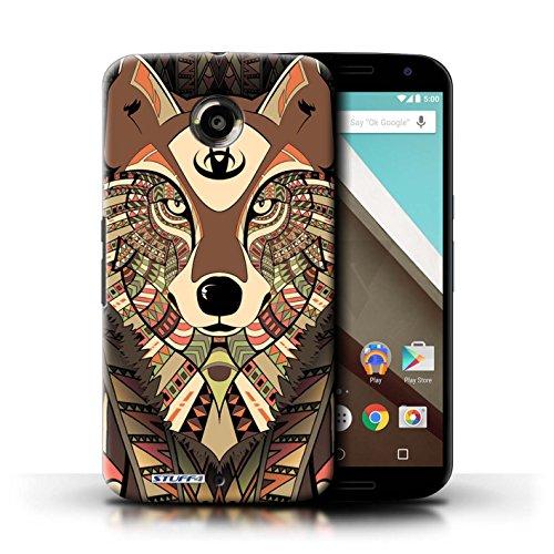Kobalt® Imprimé Etui / Coque pour Motorola Nexus 6 / Loup-Couleur conception / Série Motif Animaux Aztec Loup-Sépia