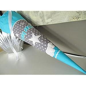 Eisbär Stern türkis-grau Schultüte Stoff + Papprohling + als Kissen verwendbar