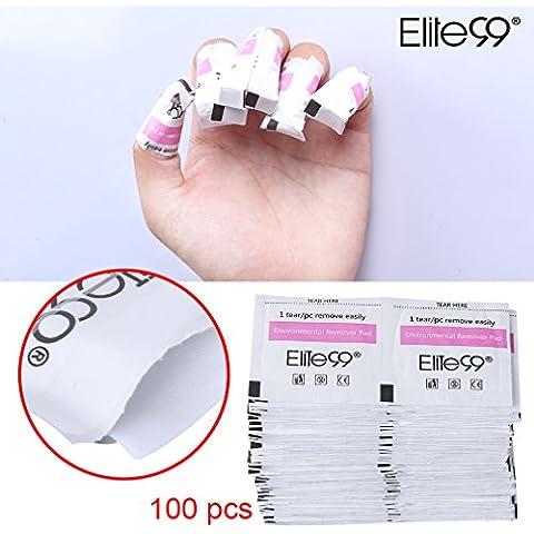 Elite99 50/100/200pcs Foil Nail Wraps Remover Pads Perfect UV LED Wipes Acrylic Gel Polish Soak Off Nail Art Cleaner Manicure Salon Tools (100pcs) by Elite99