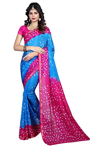 Shree Sondarya Bandhani Pink and Blue Tussar Silk Bandhani Saree With Blouse...