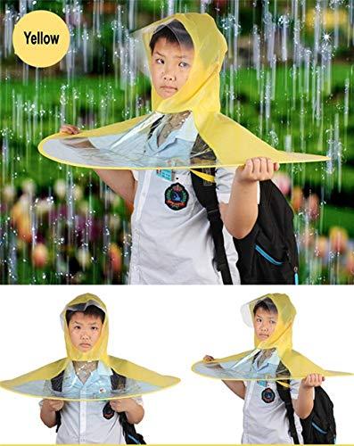 OOFAYWFD Creative Impermeable Paraguas Sombrero Gorro Gorra Exterior Niño Lluvia Abrigo Cubierta Transparente Paraguas,Yellow