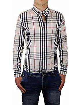 Camicia Uomo Quadri Scozzese Elasticizzata Beige Casual Slim Fit Cotone S M L XL