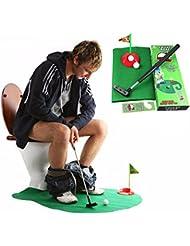ONMet tocador de golf Potty Putter novedad juguete mordaza para el cuarto de baño Kill Time Mini Golf juego Mat juguetes