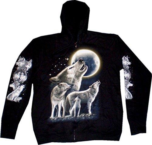 Sweatshirt-Herren Damen-Pullover Kaputzen-Jacke M-XXL black Sherpa Motiv Mond-Wolf Hoodie Sweatshirt Kaputzen Pulli : Größe: L (Sherpa Baumwolle Hut)
