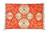 Sarong Pareo Wickelrock Strandtuch Tuch Schal Orange Batik Muster