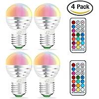 iLC Led Dimmerabile Cambiare colore Lampadina Edison 3W E27 RGBW LED Lampadine Led a Colori [2017 Seconda Generazione]- RGB 12 scelte di colore - Telecomando Incluso (Confezione da 4)