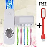 #4: Shrasha Automatic Toothpaste Dispenser with 5 Toothbrush Holder