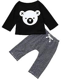 Lonshell Ropa para Niños Niñito Infantil Bebé Chicas Chicos Impresión Camiseta Tops + A Rayas Pantalones