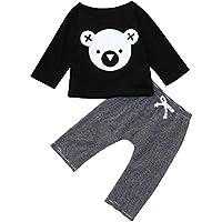 Ropa Bebe Traje,(6M-24M) Baby Baby Sleeve Cartoon Koala Imprimir Top Camiseta + Pantalones de Rayas de Dos Piezas,Negro,70,80,90,100