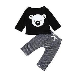 BBSMLIN Ropa Bebe Recien Nacido Niño Invierno Otoño 0 a 24 Meses Koala Camiseta de Manga Larga + Pantalón a Raya, 2PC… 14