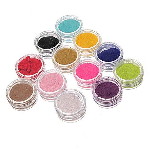 Vococal® 12 Couleur Ongle Peluche Poudre Poussière 3D Velours Flocage Poudre pour Nail Art Manucure
