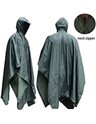 Poncho de lluvia JTENG® impermeable, Rip-Stop para la caza que acampa uso militar y con ojal Esquinas de emergencia para su uso refugio