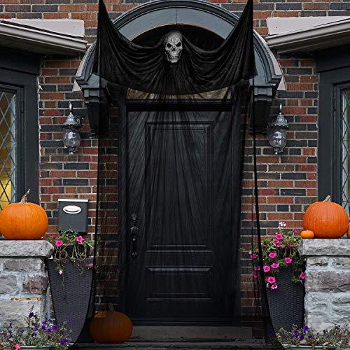 ZYEZI Hängender beängstigender Hexenvorhang des Geistes, schwarzes gruseliges für Spukhaus-Partei-Eingänge draußen