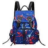 ZHRUI Weiches Leder Casual Fashion Damen Nylon Graffiti Handtaschen Rucksack Schultertasche (Farbe : Blau)