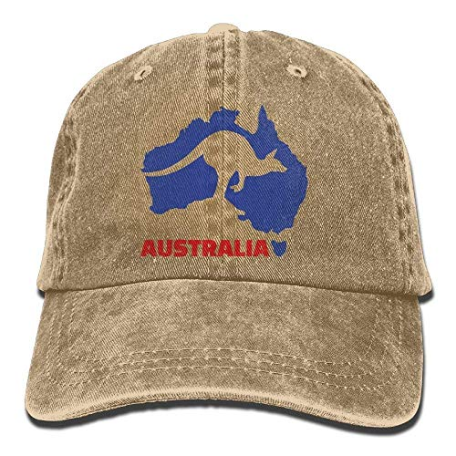 Xukmefat Australia Kangaroo Denim Hat Adjustable Mens Flag Baseball Cap 0749