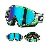 Skibrille Motorradbrillen Schutzbrille,Winter Schnee Sport Snowboardbrille,Skibrille Für Damen Und Herren Jungen Und Mädchen (Grün)