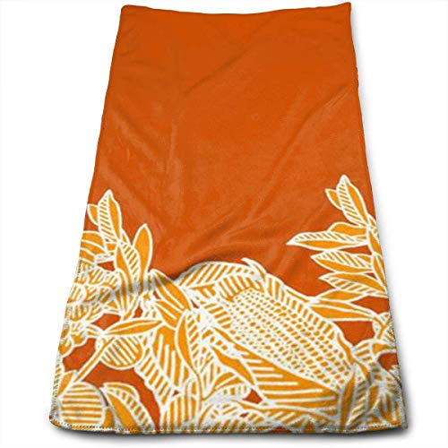 The Golden Leaves Thrive in The Orange Background Soft Cotton Large Hand Towel- Multipurpose Bathroom Towels for Hand, Face, Gym and Spa -