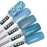 Color Gel 5er Set (je 5ml): Blue Ocean Waves - Gel Blau, Gel Hellblau, Gel Blauglitter