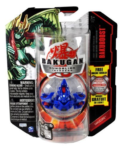 Spin Master Year 2010 Bakugan Gundalian Invaders Bakucore Series Bakuboost Single Figure - Aquos Blue STRIKEFLIER with 1 Ability Card and 1 Metal Gate Card Plus Hidden DNA Code by Bakugan