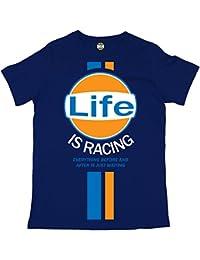 Men's Batch1 Is Life Steve Mcqueen Vintage Racing T-Shirt Large pour femme Imprimé tendance -  Bleu - X-Large