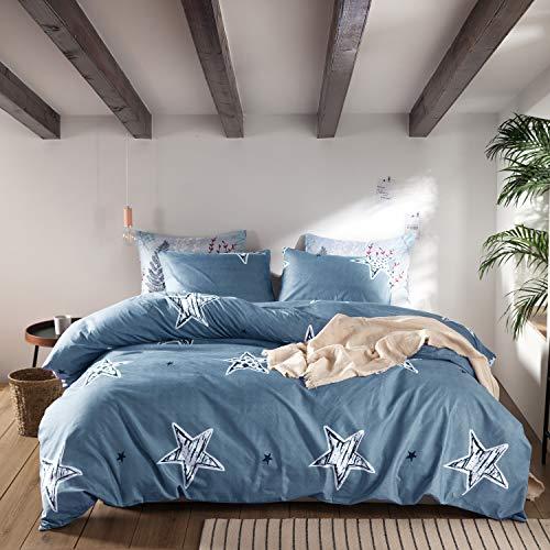 ENZER Bettwäscheset mit Blumenmuster, Mikrofaser, Bettbezug und 2 Kissenbezüge, Pentagramm, King-Size-Bett