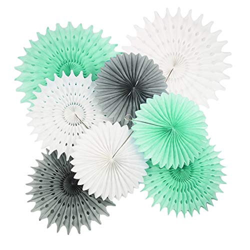 Baby Shower Dekorationen Mint White Grey/Elephant Party Dekorationen Erster Geburtstag Boy Dekorationen Tissue Pom Pom Blumen 8pcs Seidenpapier Fan für Mint Bridal Shower Dekorationen