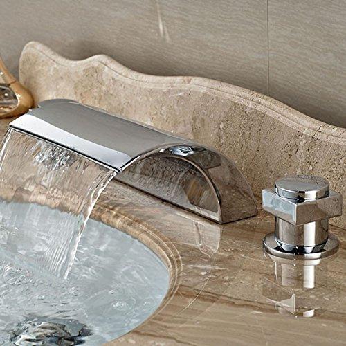 Dual Griff Wasserfall Badewanne Mischbatterie Set Deck Mount Badezimmer Badewanne Becken Waschbecken Wasserhahn Chrom-Finish von Mag.AL,F